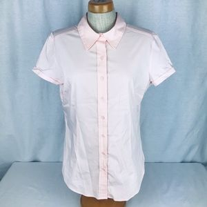 New York & Co Large Pink Button Down Shirt Blouse